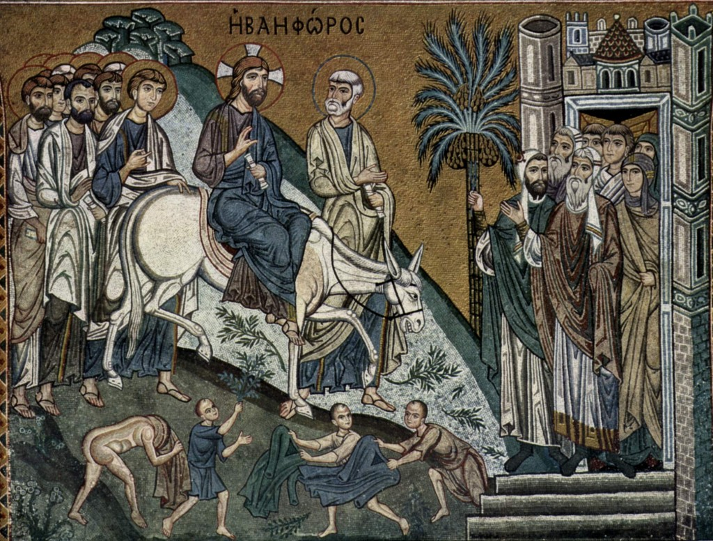 Mosaiken der Capella Palatina in Palermo, Szene: Einzug Christi in Jerusalem, PD-Art, Wikimedia Commons and The Yorck Project