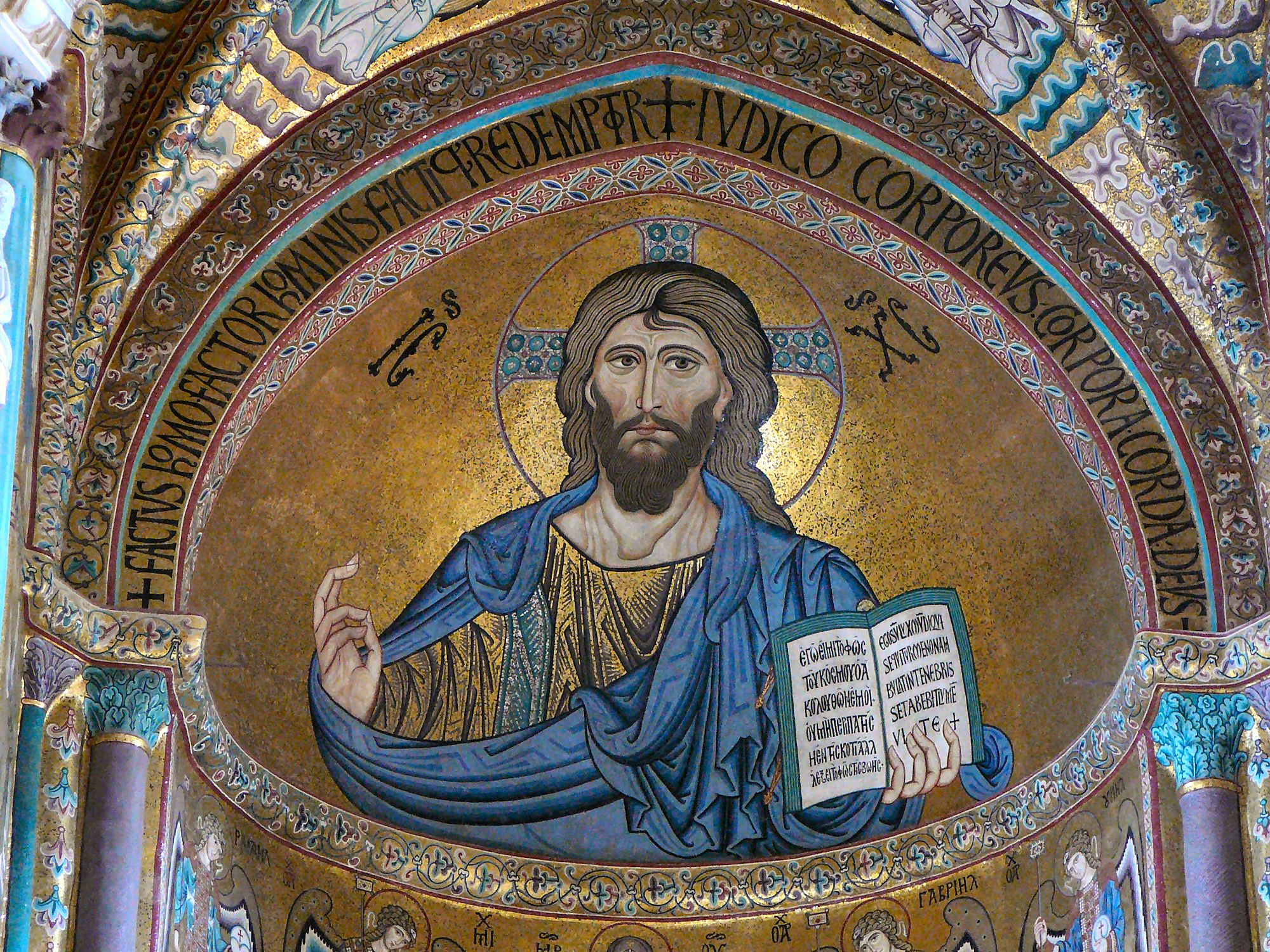 Christ Pantokrator in the apse of the Cathedral of Cefalù, Sicily, Italy. Mosaic in Byzantine style. - by Gun Powder Ma, 2007 (Christ_Pantokrator,_Cathedral_of_Cefalù,_Sicily.jpg) (CC BY-SA 3.0 [https://creativecommons.org/licenses/by-sa/3.0/deed.en]), via Wikimedia Commons