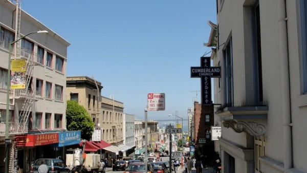 San Francisco's Chinatown, at the corner of Powell and Jackson facing Cumberland Presbyterian Chinese Church - photo by me