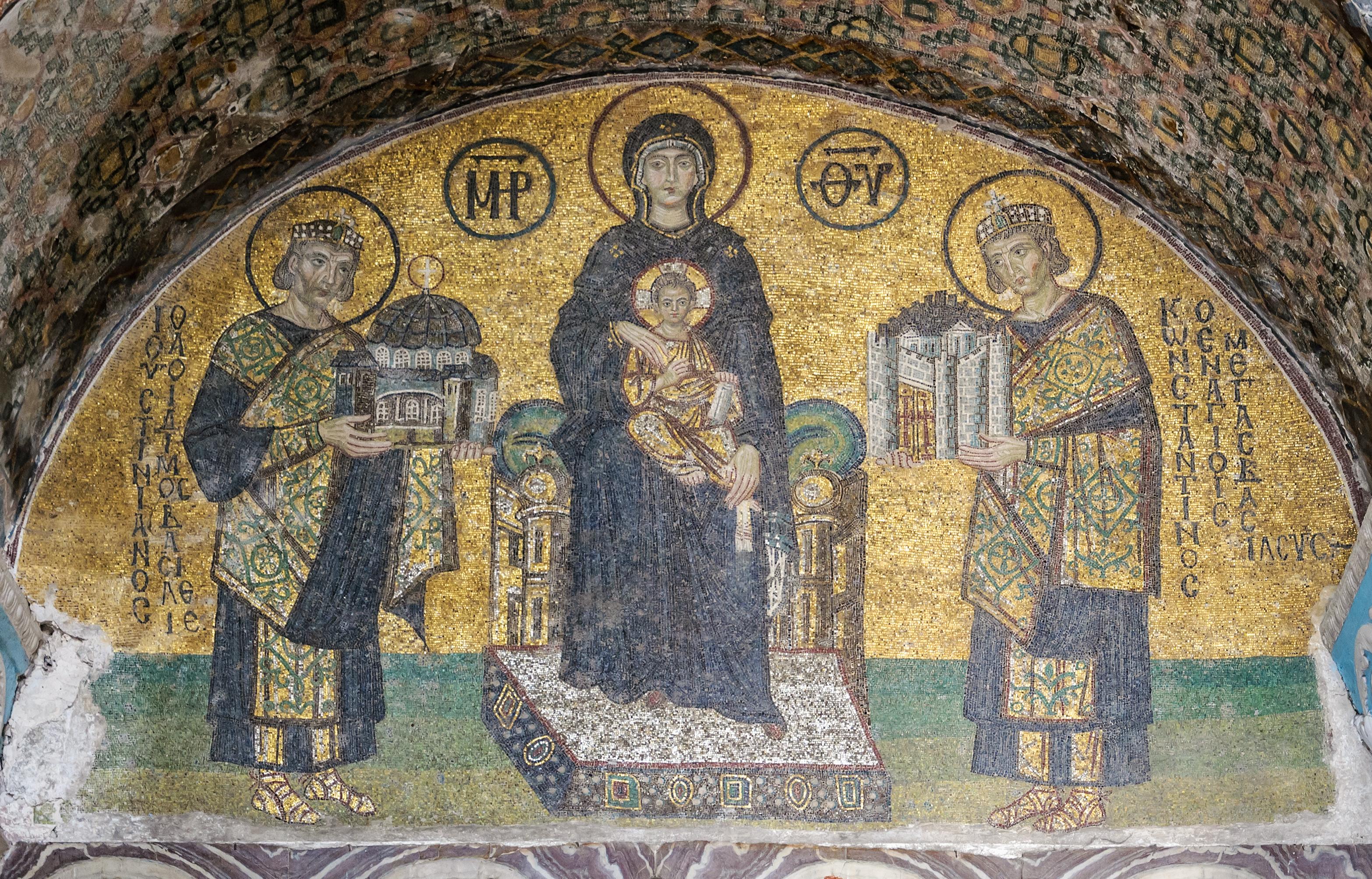 Mosaïques de l'entrée sud-ouest de Sainte-Sophie (Istanbul, Turquie) - PD-Art, via Wikimedia Commons