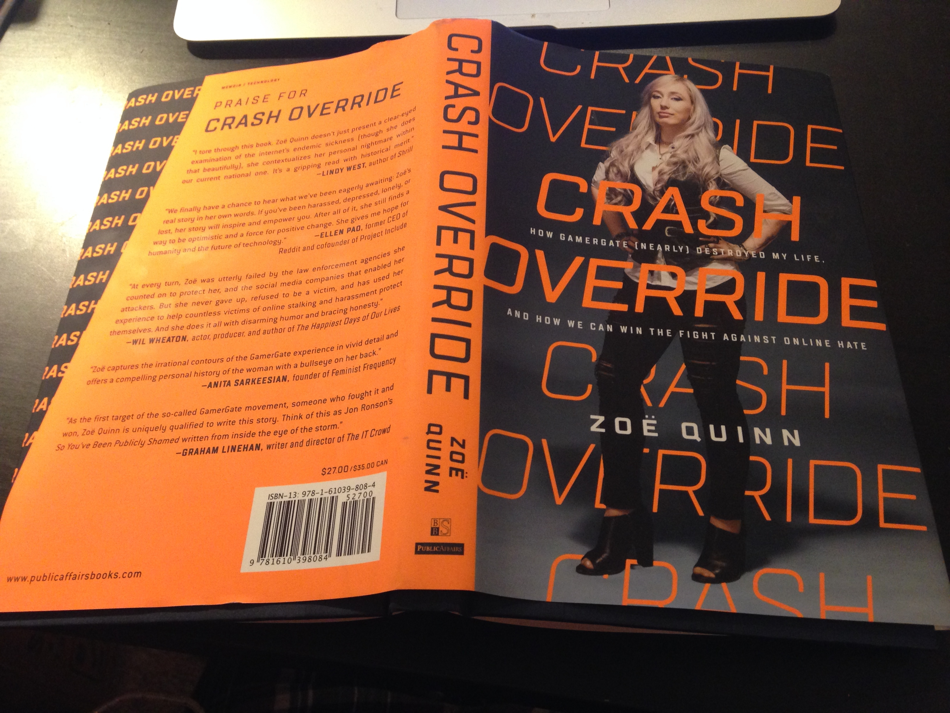 My copy of Zoë Quinn's Crash Override - photo by me