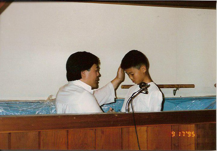 My baptism in 1995 - photo by my mom