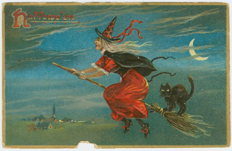 Victorian Postcard image of a classic witch riding a broomstick with a black cat.