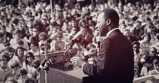 Martin Luther King Jr. at the St Paul Campus of UMN addressing a crowd.