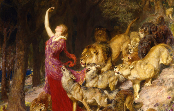 Aphrodite is followed by wolves, lions, and other large predators.