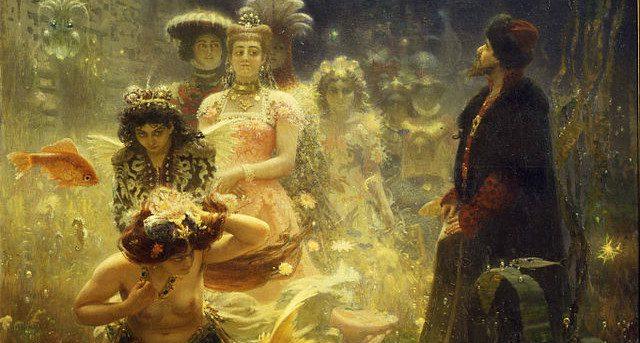 Pre-Raphaelite  image of curious people underwater