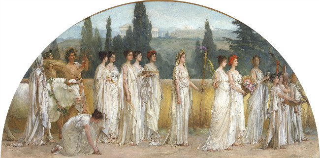 Grecian priestesses processing through the countryside.