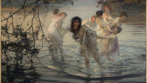 Classical Painting of nymphs frolicking in the water in the dawn light.