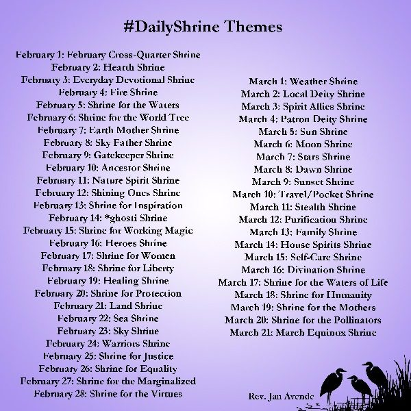 A list of the daily shrine themes listed below.