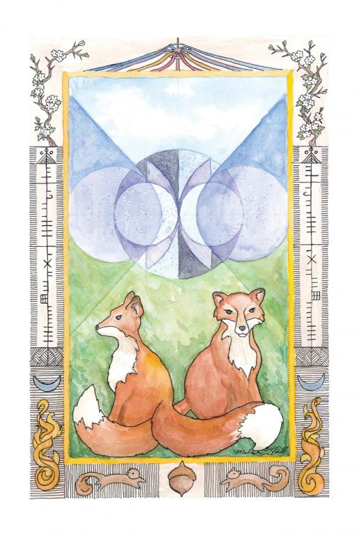 Two foxes sit with tails entwined below a sacred geometry in blues and purples.