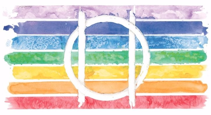 A pride rainbow with the Druidic Sigil in white.