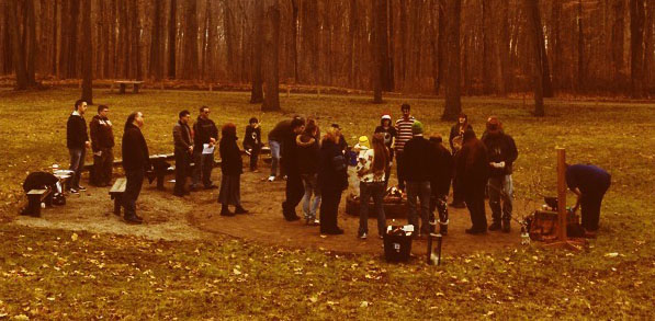A gathered group of pagans, getting ready to do ritual together.