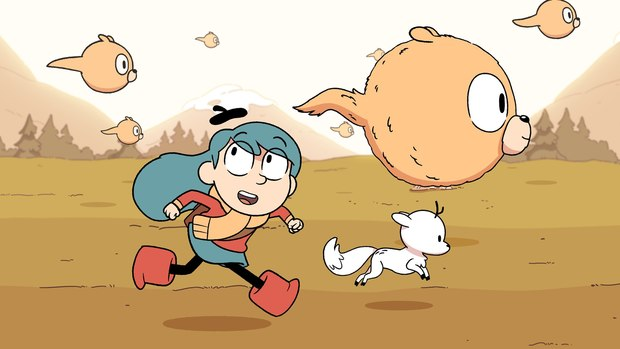 A little blue haired girl is running with her antlered fox dog and strange fluffy flying spirit puffs.