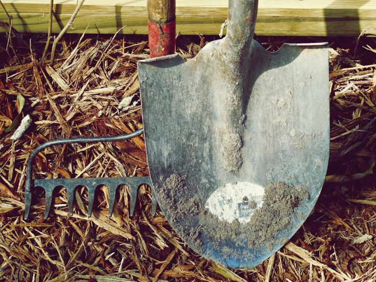 A dirty shovel and a landscape rake, well used.