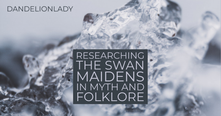 An image of splashing water with text that reads: researching the swan maidens in myth and folklore.