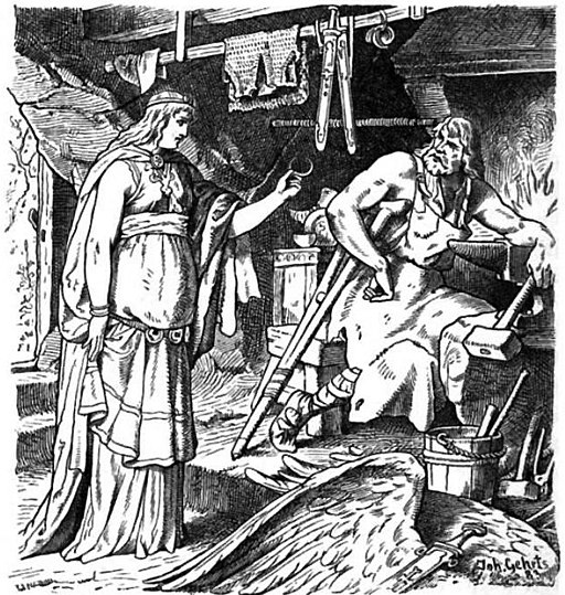 Beadohilde presents the bandaged and crutched Wayland Smith with the broken jewelry at his smithy.