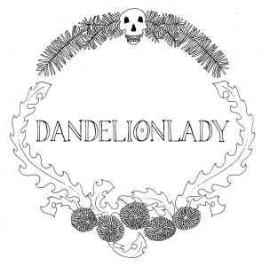 Plant spirits including yew and dandelion create a wreath around the name Dandelionlady