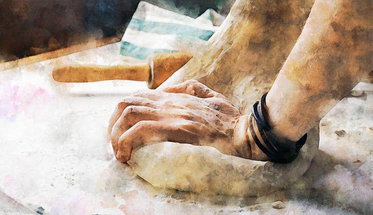 A digital watercolor image of a person kneading bread dough with rolling pin and a green striped towel in the background.