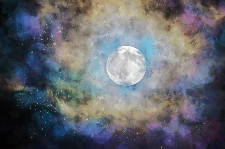 A watercolor image of the full moon surrounded by clouds in pale yellow, violet and electric blue.