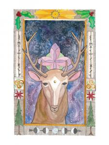 Yule deer invocations: image is of a watercolor painting of a deer looking at you with a four fold geometry behind the deer. There is a starry sky and a border filled with folk art.