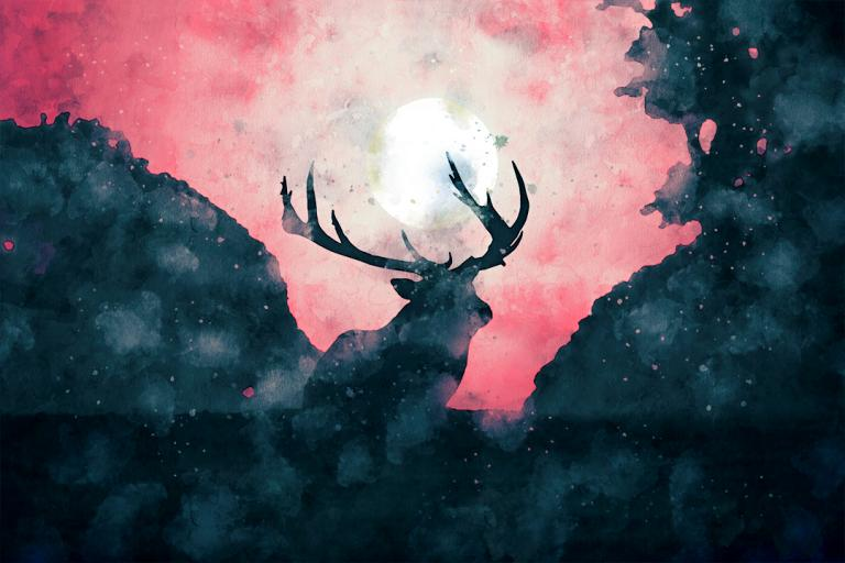 Yule Deer Invocation: a digital watercolor painting of a buck deer standing in a woods with the sun between it's antlers.