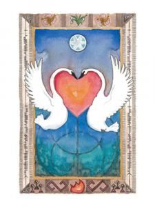 Imbolc prayer, image is original painting of two swans rising out of the water. A heart is formed between them.