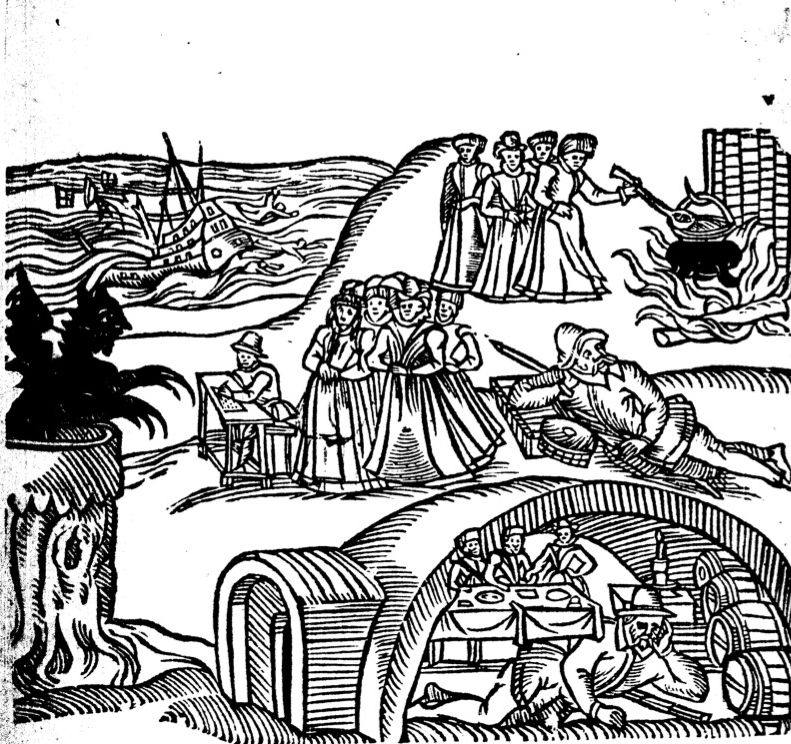 """A depiction of the North Berwick Witch Trials, from """"Newes from Scotland"""" pamphlet, 1591. From WikiMedia."""