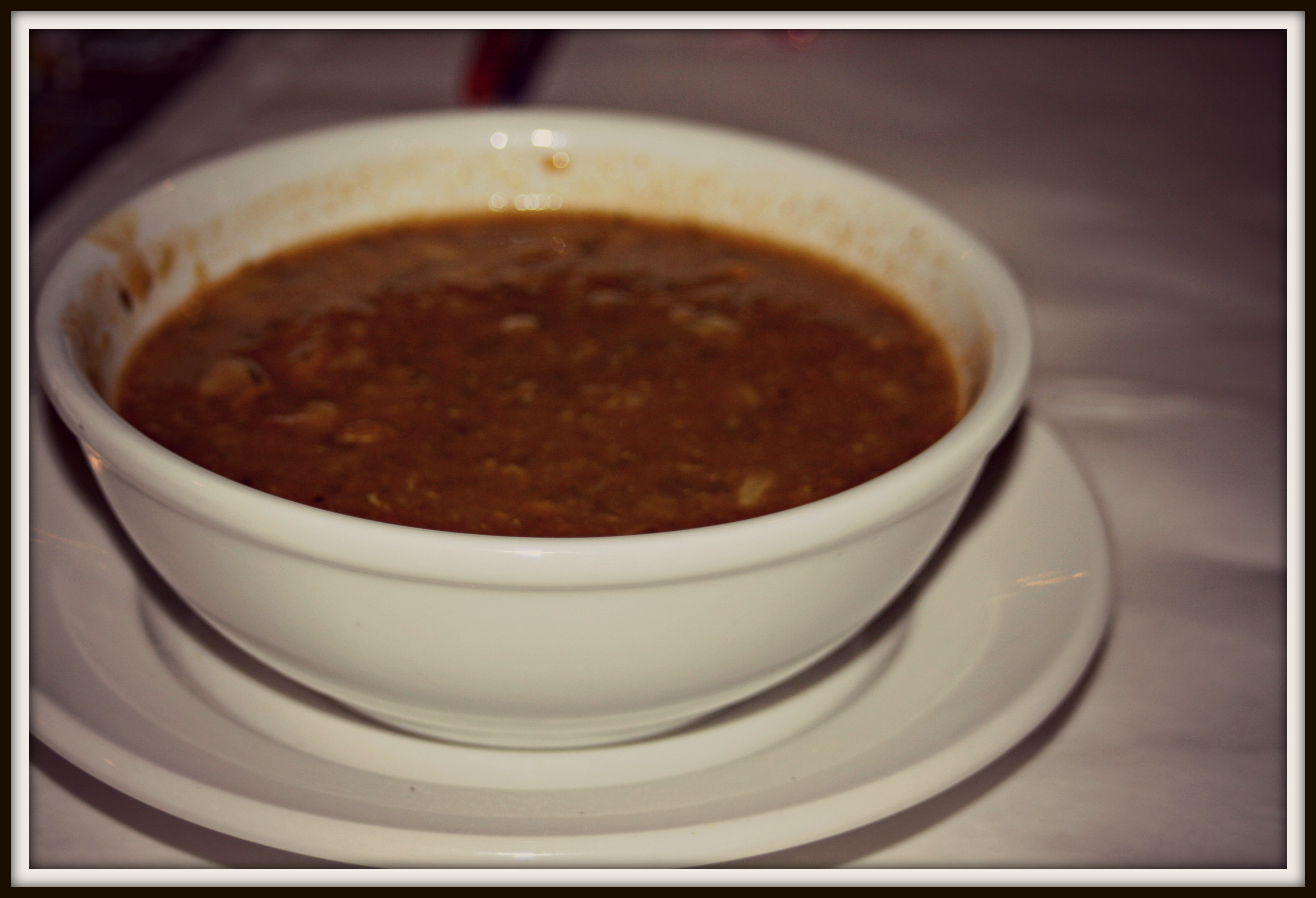 This is the bowl of Harira Soup that was served to us at the restaurant.