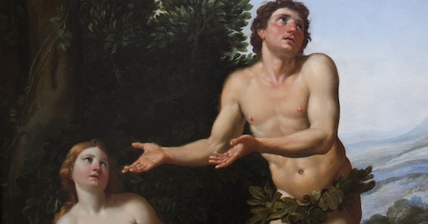 "Detail of the painting ""God reprimanding Adam and Eve"", by F. Zampieri (1625)"