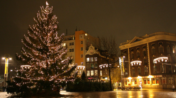 Christmas tree in Nieuwmarkt, Amsterdam, by Tanya Hart.   From Flickr.  CC License.