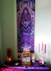 My Cailleach altar (hanging by Wendy Andrews) Deity