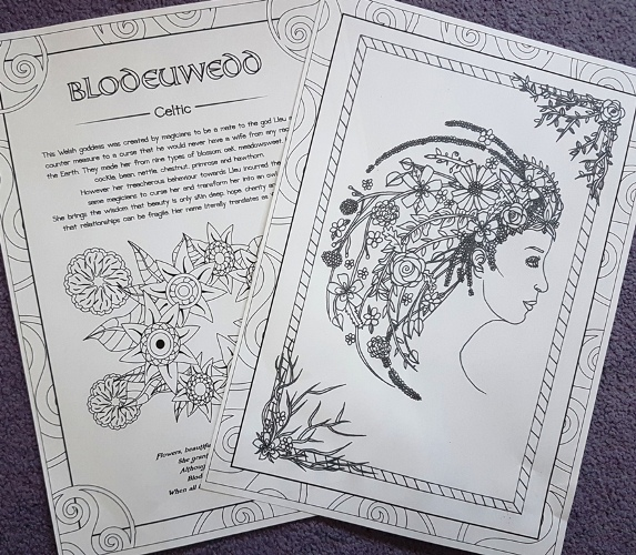 blodeuwedd gods and goddesses colouring book