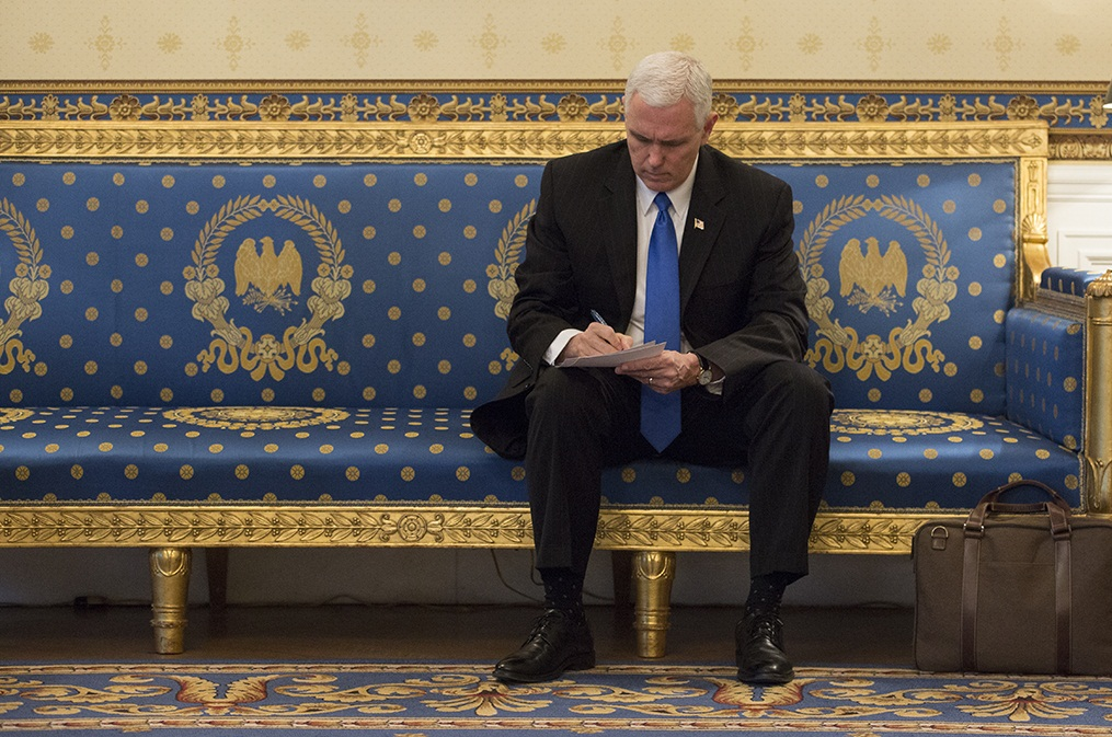 V. P. Mike Pence - Waiting On The Bench (Official White House Photo by Benjamin Applebaum)