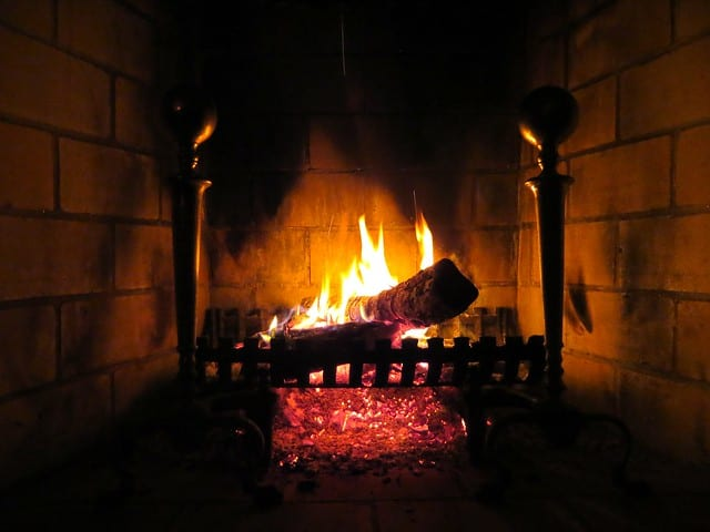 a contemplative practice of watching a fire in the fireplace