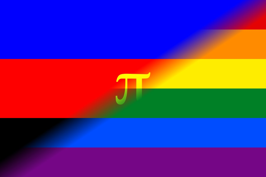 The polyamory flag merged with the gay pride flag.