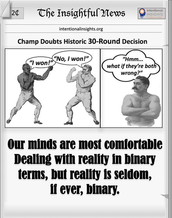 "Meme saying ""Our minds are most comfortable dealing with reality in binary terms, but reality is seldom, if ever, binary"" (Made for Intentional Insights by Wayne Straight)"