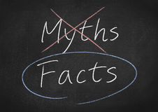 "Blackboard image with word ""myths"" crossed out and ""facts"" circled (Thumbs/Dreamstime)"