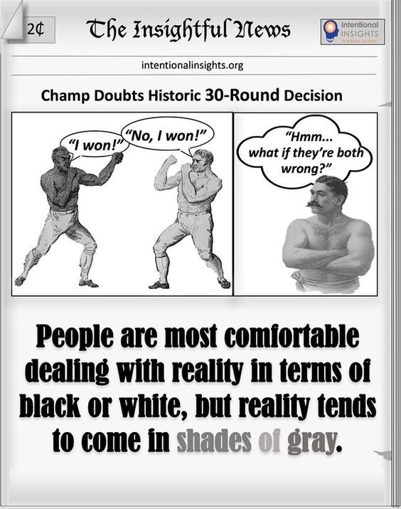 """Meme saying """"People are most comfortable dealing with reality in terms of black or white, but reality tends to come in shades of gray"""" (Made for Intentional Insights by Wayne Straight)"""