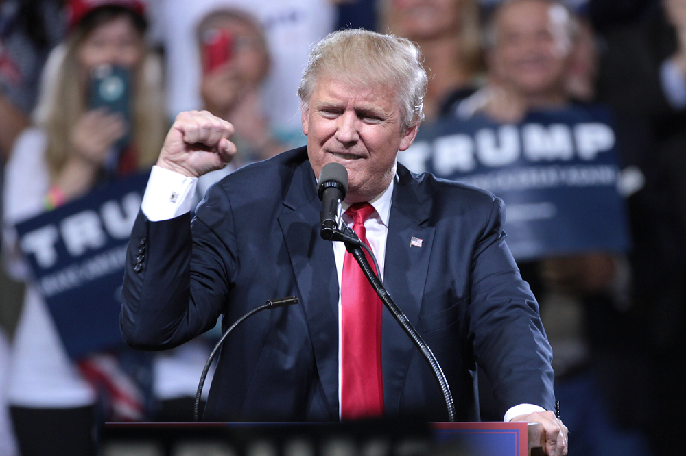 Donald Trump with fist raised (Wikimedia commons)