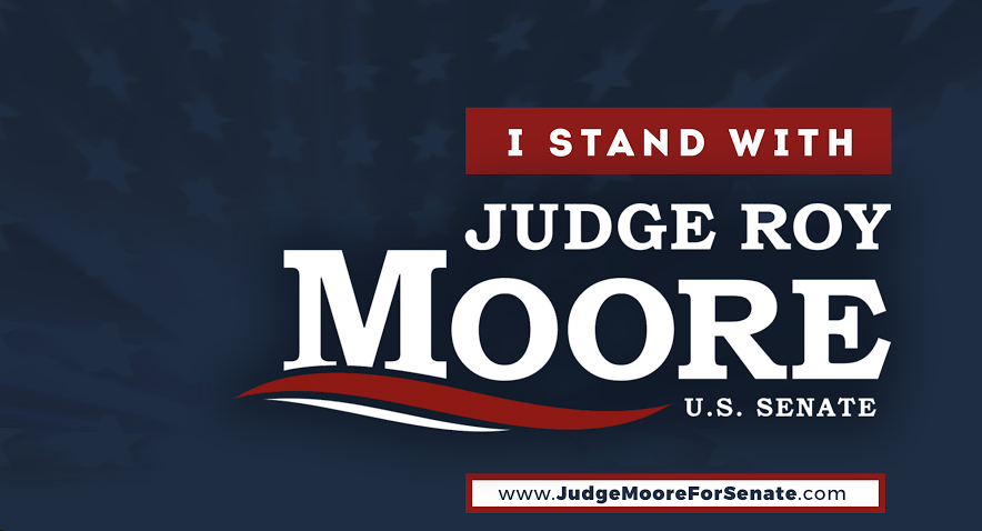 Image of supporting sign for Roy Moore's senate campaign (Wikimedia commons)