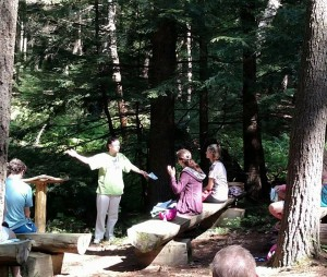 The author, Leah D. Schade, preaching at R. B. Winter State Park in Pennsylvania.