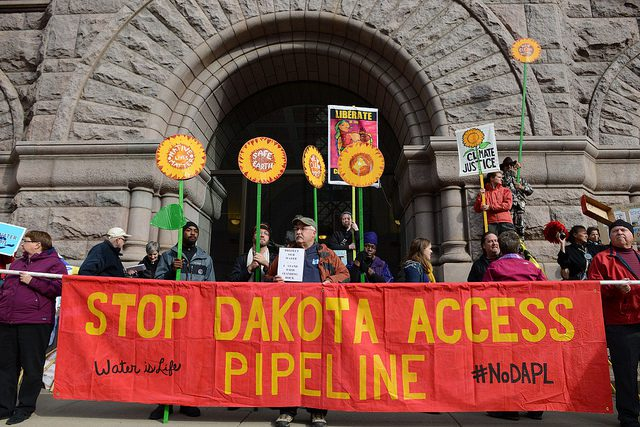 Dakota Access Pipeline protest, Minneapolis, MN. Photo credit: Fibonacci Blue. Some rights reserved. https://www.flickr.com/photos/fibonacciblue/