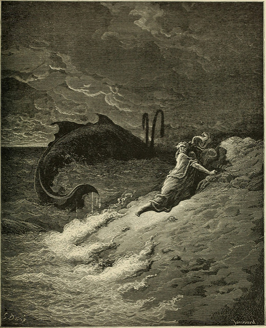 """Jonah and the whale. """"The Bible Panorama,"""" 1891. No known copyright restrictions. https://www.flickr.com/photos/internetarchivebookimages/"""