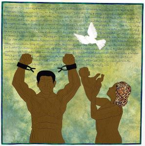 "Artist: Cynthia H. Catlin. Quilt: ""The Beginning of Social Justice"" (2012). National Underground Railroad Freedom Center."