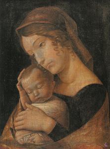 Andrea Mantegna Maria mit dem schlafenden Kind Madonna with Sleeping Child, 1465 in the Gemäldegalerie, Berlin. Public domain.