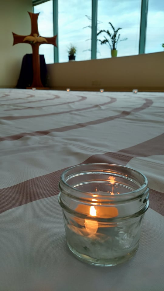 Candle and labyrinth. Photo credit: Leah D. Schade. All rights reserved.