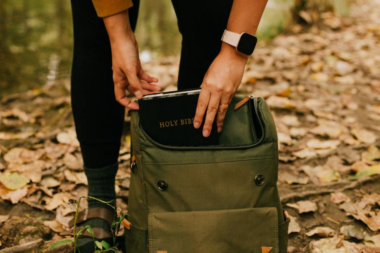 Bible in backpack