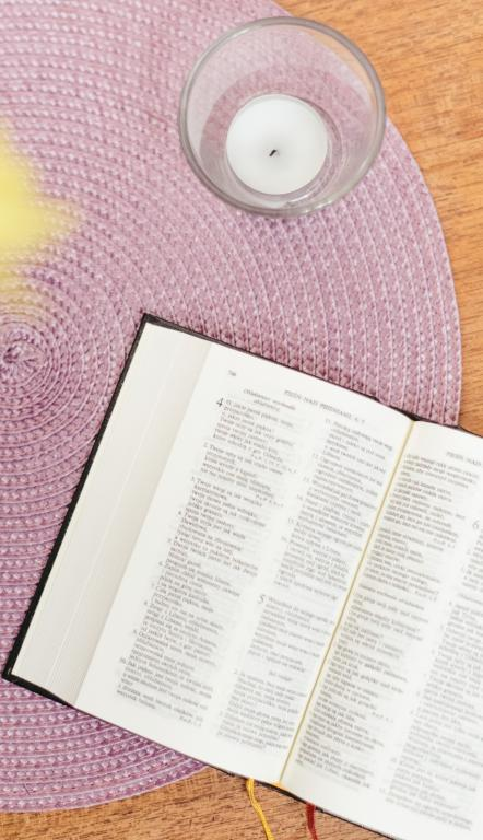 Bible, purple mat