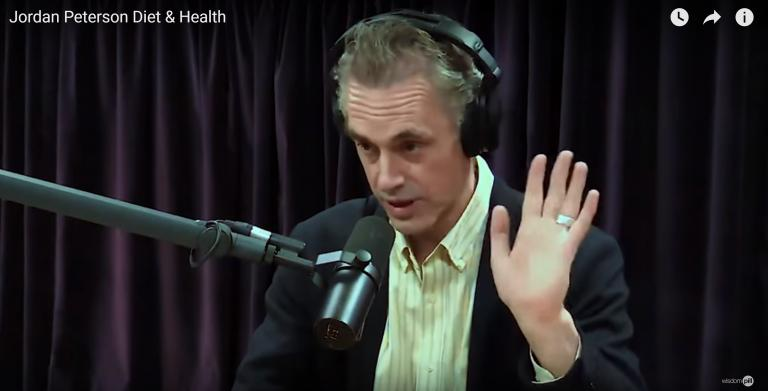 Screenshot from YouTube video in which Joe Rogan interviews Peterson.