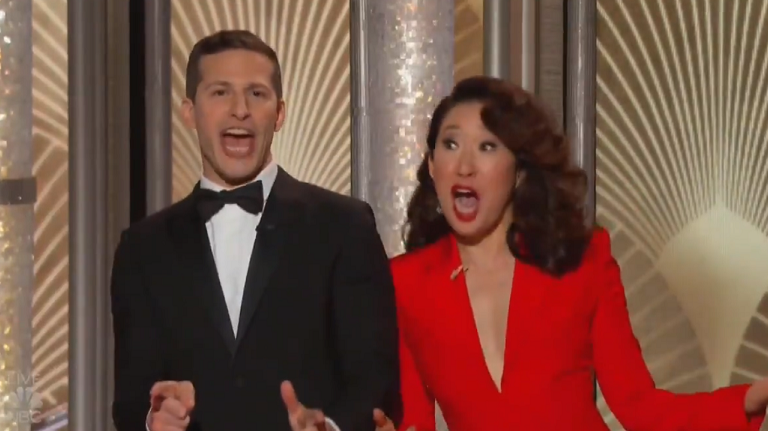 Andy Samberg and Sandra Oh Give Celebrities Flu Shots at
